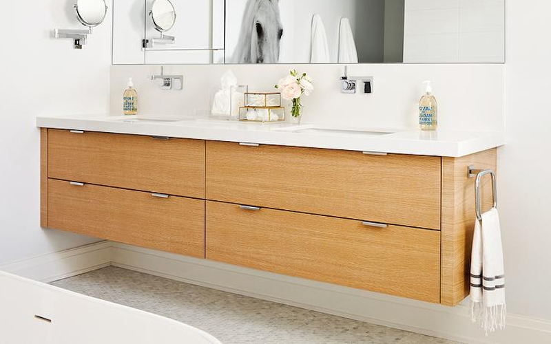 Natural wood floating vanity
