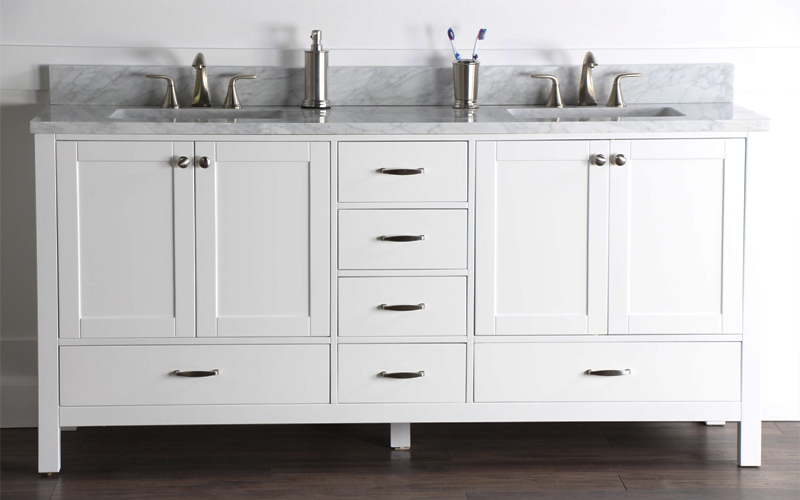 all-white bathroom vanity